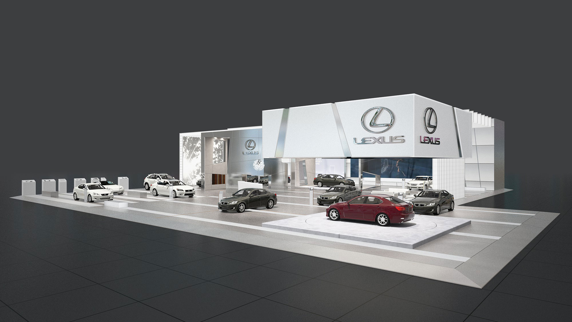 Lexus Messekonzept Messestand Detroit 3D Visualisierung