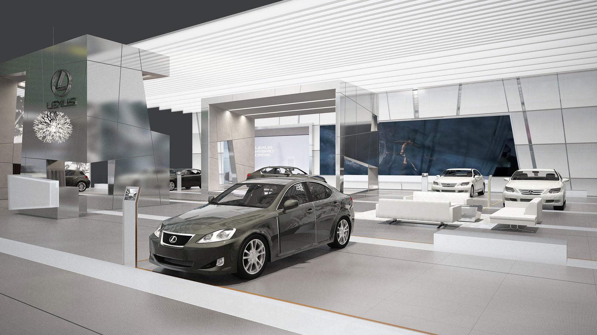 Lexus Messekonzept Messestand Detroit 3D Visualisierung